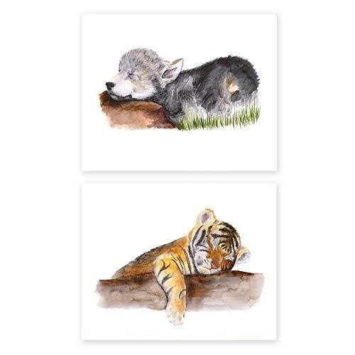 2 Sleeping Baby Animal Prints, Tiger Cub Art, Wolf pup print - 8.5x11