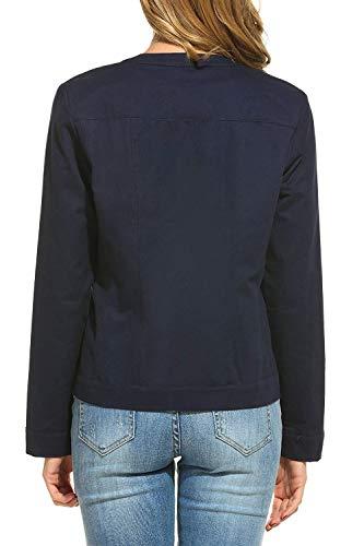 Outerwear Donna Fashion Monocromo Dunkelblau Cerniera Giubbino Autunno Con Tempo Primaverile Giacca Giacche Pilot Semplicemente Libero Lunghe Eleganti Coat Maniche Giorno Unico wqBOv
