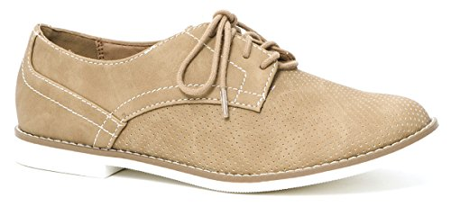 Women's Cooper Lace Up Oxfords Flats Sneakers By LUSTHAVE