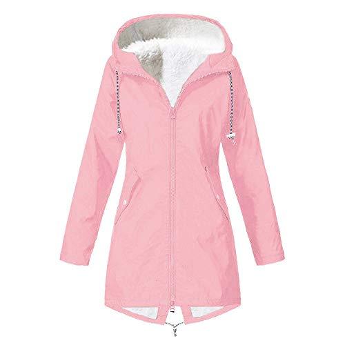 TIMEMEAN Rain Mac for Women Winter Waterproof Jacket Hoodies Blue XL