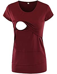 Women's Maternity Layered Irregular Nursing Shirt Tops Short Sleeve For Breastfeeding