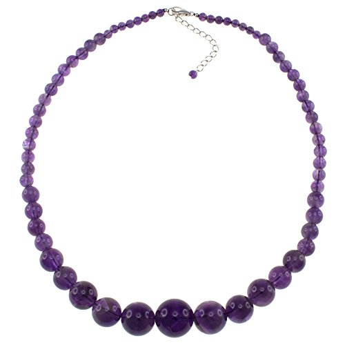 Pearlz Ocean Natural Amethyst Round Beads Journey Necklace for Women Sterling Silver clasp