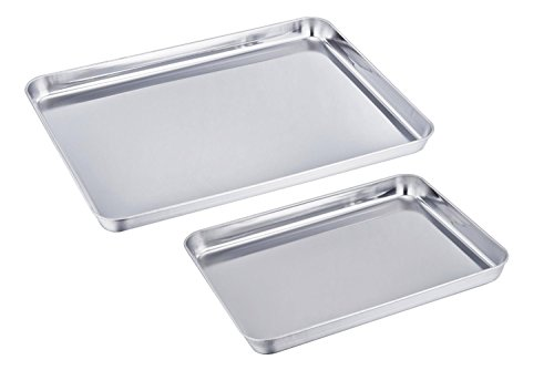 Sixly Stainless Steel Baking Sheet Bakeware Cookie Pan Tray Set Professional Set of 2 Silvery