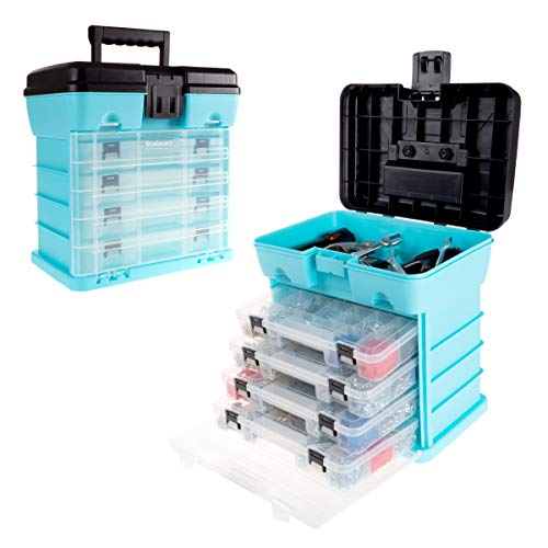 Storage and Tool Box-Durable Organizer Utility Box-4 Drawers, 19 Compartments Each for Hardware, Fish Tackle, Beads, and More by Stalwart (Light Blue) (Option Tackle Box)