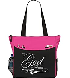 Matthew 19:26 With God All Things Are Possible Tote Bag Christian Bible Cover Verse Church Office School Travel Gym Book Organizer - Pink Black