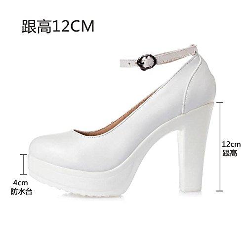 En L'eau Chaussures Ceinture 39 T Avec Blanches Tte Taiwan Cuir De Talon Femme Blanc Haut modle Ronde 12cm Impermable Fendue Simple pais Haute f76q5