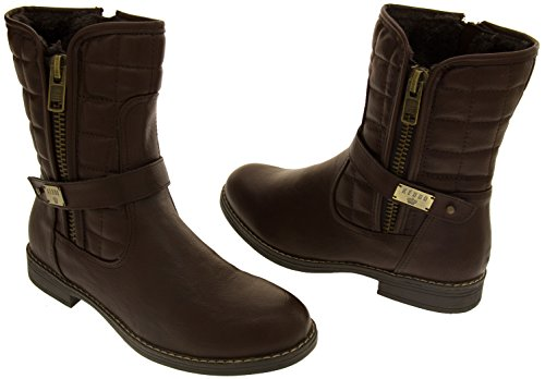 Leather Studio Footwear Faux Womens Ankle Keddo Brown Real Lined Boots Wool qZqwHIdA