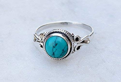 Blue Kingman turquoise sterling silver ring  gift fort her  jewelry sale  ring size 9  boho ring  American turquoise ring