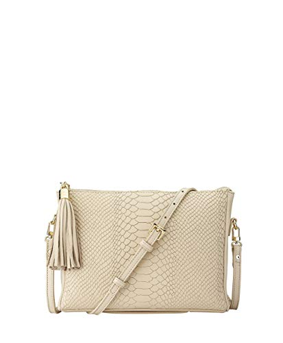 GiGi New York Women's Hailey Embossed Python Crossbody Almond ()