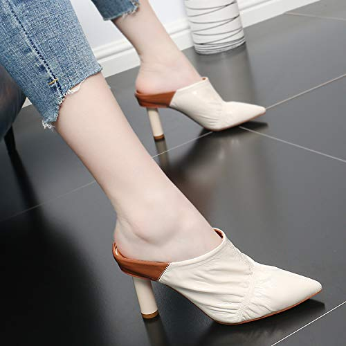 Summer Heel Thin Sexy Sandals Slippers High KPHY Naked Temperament And Lacquer Pointed Simple Fashionable 8Cm color FnSddq1