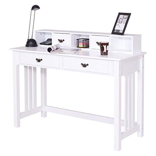 Giantex Writing Desk Mission White Home Office Computer Desk 4 Drawer White (Hutch White Drawer)