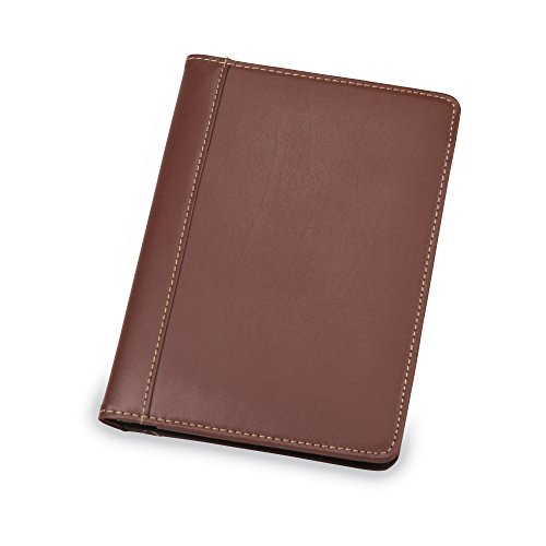 Samsill Contrast Stitch Leather Small Portfolio - Junior Portfolio Folder / Business Padfolio for Men & Women, 5 x 8 Mini Writing Pad, Brown