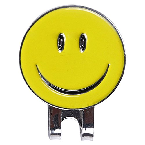 MONOMONO-Cute Smile Face Magnetic Hat Clip Golf Ball Marker Clip On Golf Cap Visor 2Color (yellow)