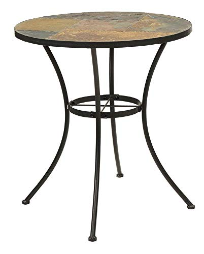 4D Concepts Round Table with Slate Top in Black Finish