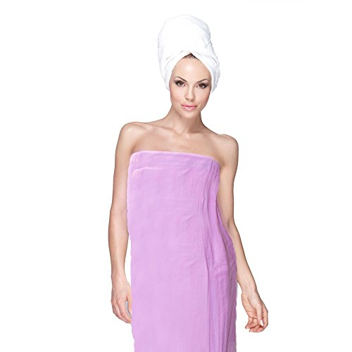 Home & Lounge Spa Bath Shower Wrap for Women Robe Gyms 100% Cotton Terry Velour (LIght Pink) (Terry Body Wrap)