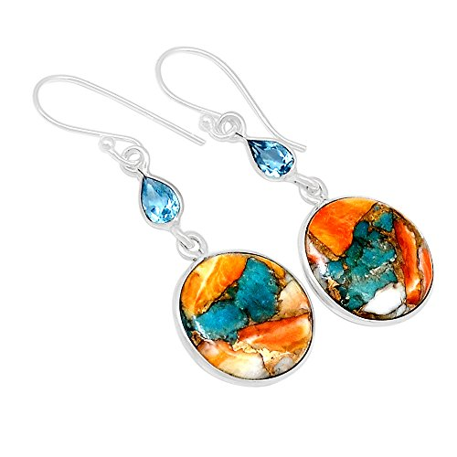 Sterling Spiny Oyster (Xtremegems Spiny Oyster & Arizona Turquoise 925 Sterling Silver Earrings 1 5/8
