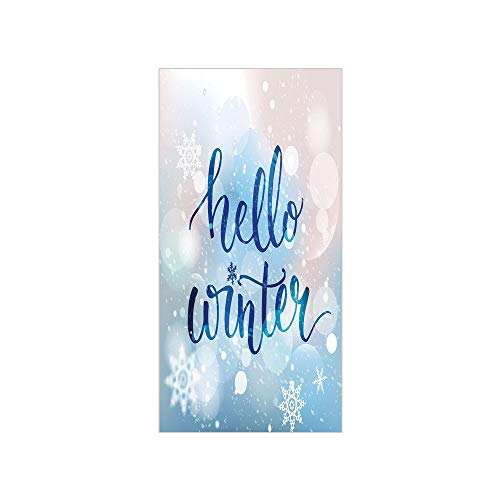 - Decorative Privacy Window Film/Hello Winter Stylized Lettering on Abstract Blurry Snowflakes and Bokeh Effect Decorative/No-Glue Self Static Cling for Home Bedroom Bathroom Kitchen Office Decor