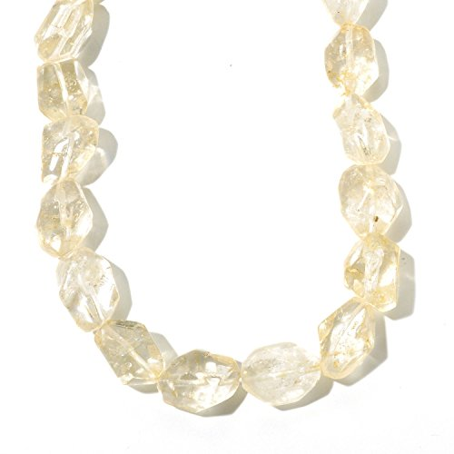 Sterling Silver 140ct Citrine Nugget Bead Necklace