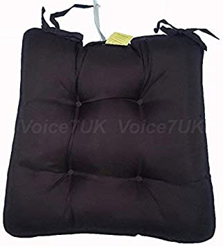 Voice7 Single /& Set of 2-6 MicroFibre Dumpy Dining Chair Cushion Seat Pads with Ties Chocolate - Pack 2 Office /& Garden Chair Cushions One Standard Square Size 38 cm x 38 cm x 5 cm