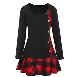 Moonuy_ Fashion Women Casual O-Neck Lace Up Tartan Plaid Print Asymmetrical Mini Dress Women V-Neck A-Line Fit Flare…