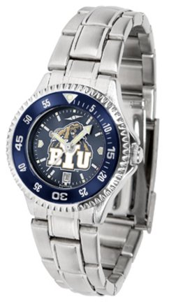 SunTime Brigham Young (BYU) Cougars Competitor AnoChrome Ladies Watch with Steel Band and Colored Bezel
