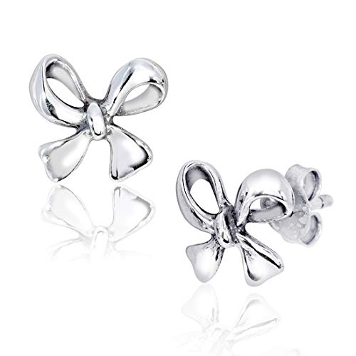 WithLoveSilver 925 Sterling Silver Cute Tiny Bow Tie Ribbon Stud Earrings