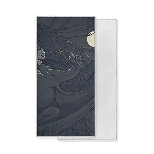 LUCASE LEMON ALEX Dragon with Bear Toy Soft Super Absorbent Large Decor Hand Towels Multipurpose Fast Drying Towel for Bathroom Hotel Gym Spa 15'' x 30''