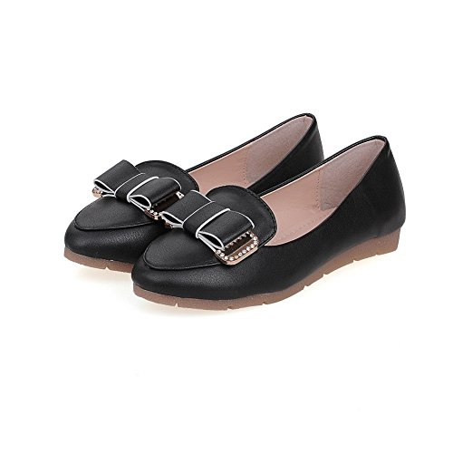 Amoonyfashion Femmes Pull-on Talons Bas Pu Solide Ronde Fermé Orteils Pompes-chaussures Noir