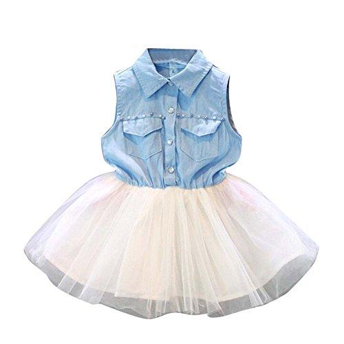 (Hatoys Tulle Tutu Sundress,Toddler Baby Kid Girl Party Princess Denim Sleeveless Clothes Dresses (6/7T, Light)