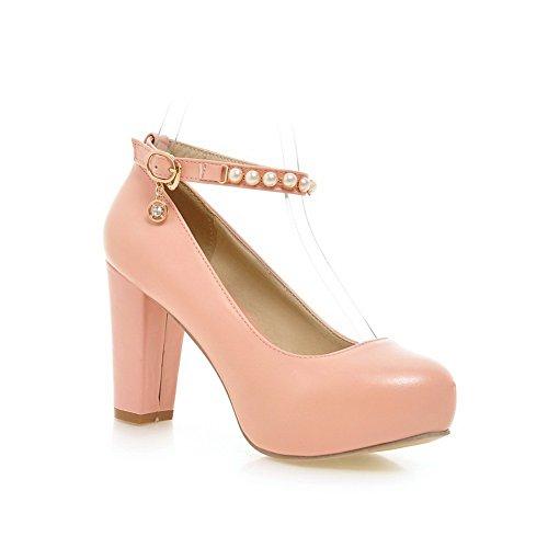 1TO9 Ladies Bead Chunky Heels Studded Rhinestones Metal Buckles Polyurethane Pumps-Shoes Pink