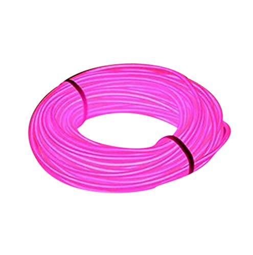 Lysignal 9ft Neon Glowing Strobing Electroluminescent Light Super Bright Battery Operated EL Wire Cable for Cosplay Dress Festival Halloween Christmas Party Carnival Decoration (Pink)