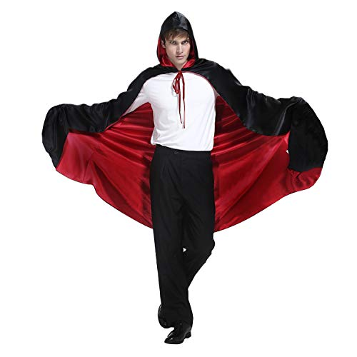 Halloween Christmas Cosplay Cloak Full Length Red Black Cape With Hood for ()