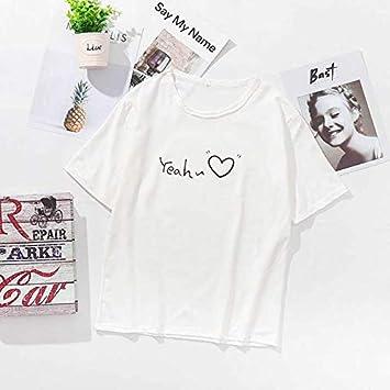ADSIKOOJF o Cuello Manga Corta Mujer Camiseta 2019 Carta de Verano Impresa Harajuku versión algodón sólido Tees Camisa para Mujer Ropa XXL D: Amazon.es: Hogar