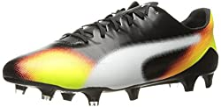 PUMA Men's Evospeed SL S II Graphic FG Soccer Shoe, Black/White/Safety Yellow/Shocking Orange, 13 M US