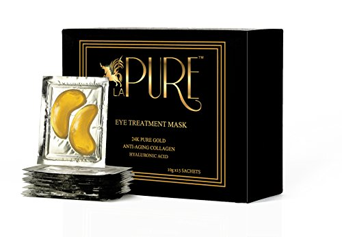 LA PURE 24K Gold Eye Treatment Mask | Under Eye Patches, Anti-Wrinkle, Under Eye Bags Treatment, Eye Mask for Puffy Eyes | 15 Pairs (Pack of 1) from LA PURE