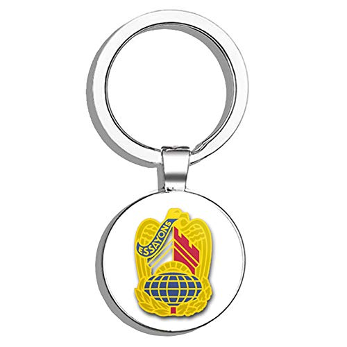 HJ Media US Army Corps of Engineers Command Unit Crest - Right Metal Round Metal Key Chain Keychain ()