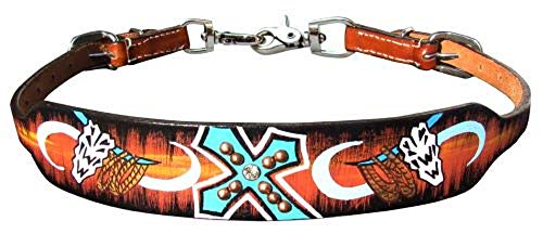 Showman Painted Teal Cross Skull Leather Wither Strap Barrel Racing Trigger Snaps