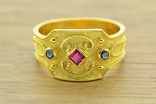 Style Etruscan Ring (Princess Cut Ruby Oval Sapphire Ring Byzantine Style 925 Sterling Silver 22K Gold Plated Greek Handmade Art Ring, Byzantine Rubies Sapphires CZ Ring, 22K Gold Plated Ring, CZ Band Ring, Sterling Silver Ring, Etruscan Style Ring, Byzantine Ring, Greek Jewelry, Luxury Ring, Medieval Ring, Elegant Sterling Silver Ring, Blue Red cubic zirconia Ring)