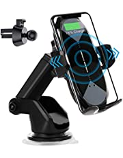 HonShoop Wireless Car Charger Mount, 10W/7.5W Qi Fast Charging Auto-Clamping Car Mount Air Vent Windshield Dashboard Car Phone Holder Compatible iPhone 11/11 Pro/11 Pro Max/Xs/MAX/XS/XR/X/8/8+,Samsung S10/S10+/S9/S9+/S8/S8+