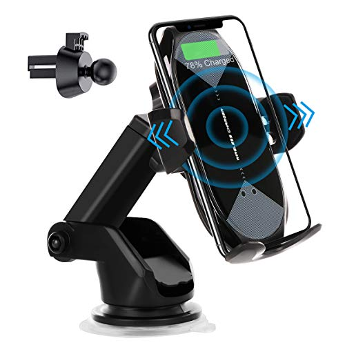 Wireless Car Charger Mount,HonShoop Auto-Clamping Qi 10W7.5W Fast Charging Car Phone Mount Air Vent Compatible with Phone