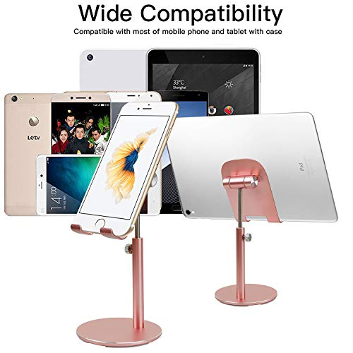 smartelf Stand for Tablet and Smartphone, Adjustable Height and Angle Tablet Holder, Desktop Cell Phone Stand Dock Compatible with ipad, Nintendo Switch,iphone, Samsung E-reader and More - Rose Gold