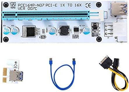 Ethereum Mining ETH-Blue GPU Riser Adapter Pcie Riser 6-Pack PCI-E Riser Board 006C 1-16x to 1x Powered Riser Adapter Card w// 60cm USB 3.0 Extension Cable /& 6-Pin PCI-E SATA Power Cable