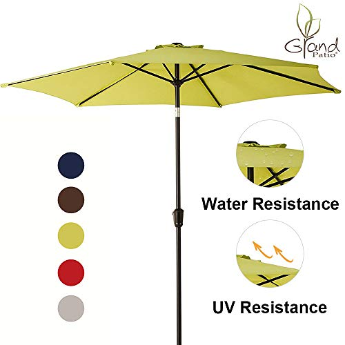 Grand patio 9 FT Aluminum Patio Umbrella, UV Protected Outdoor Umbrella with Push Button Tilt and Crank, Lime Green (Green Lime Umbrella)