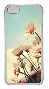 iPhone 5c case, Cute White Chrysanthemum iPhone 5c Cover, iPhone 5c Cases, Hard Clear iPhone 5c Covers by mcsharks