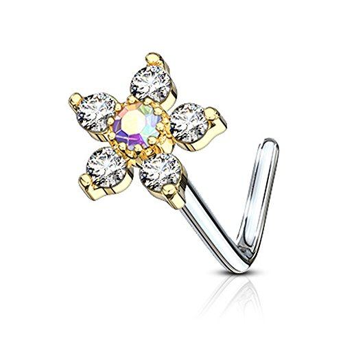 Inspiration Dezigns Nose Stud Ring CZ Flower Top 316L Surgical Steel (Gold/Clear, L-Bend Style)