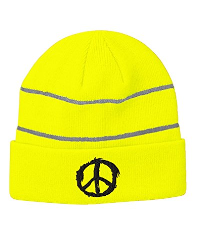 Flame Peace Sign Embroidery Design Acrylic Beanie Reflective Stripes Neon Yellow