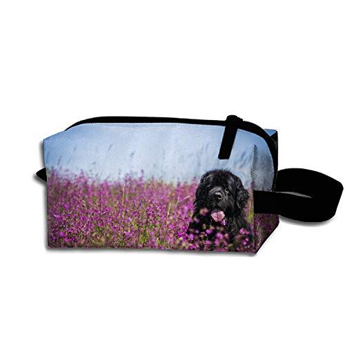 (Makeup Bag/Toiletry Bag/Toilet Bag/Jewelry Storage Bag Portable Black Newfoundland)