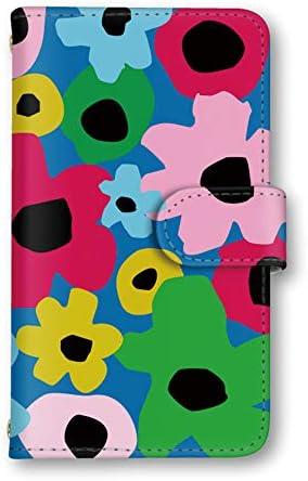 seventwo Xperia XZ2 Compact SO-05K スマホケース 手帳型 ミラー付 エクスペリア エックスゼットツー コンパクト 【E.ブルー】 花柄 北欧風 flower_064
