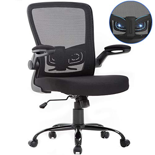 BestOffice Office Chair Mesh  Desk Chair Lumbar Support Desk Chair Ergonomic Adjustable Computer Chair Swivel Ergonomic Task Chair with Flip Up Armrest for Home & Office,Mid Back, Black by BestOffice (Image #7)