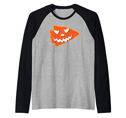 KC Football Halloween Arrowhead Kansas City Scary Kc Costume Raglan Baseball Tee